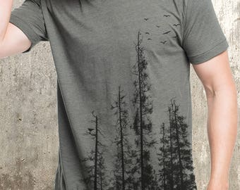 Men's Pine Tree Forest T-Shirt - Screen Printed Men's T-Shirt - American Apparel