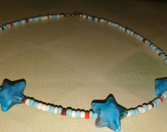 Clearance/Dastash Ayla's Bead Creations Red White and Blue 4th of July girls 13 inch star necklace