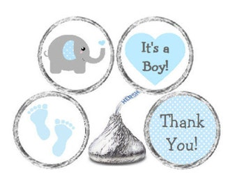 Baby Shower 324 Glossy Stickers for Candy Kiss®- Blue & Grey Polka Dots Elephant Blue Grey Labels for Chocolate Kisses **Discounts Available