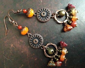 Bohemian Earrings, Boho , Hippie, Dangle, Orange, Red, Carnerian, Gift for her