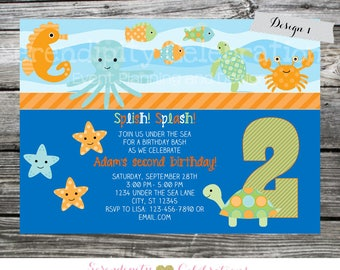 Under the Sea Invitation, Under the Sea Birthday Invite, Turtle, Photo Invite, Printed Under the Sea Invites, Crab Ocean Animals, Sea Animal