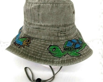 Bucket Hat with Chin Strap Hand Painted in Adult Sizes