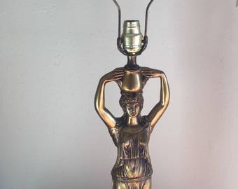 Vintage Hollywood Regency Lamp Art Deco Lady Metal Sculptural Woman