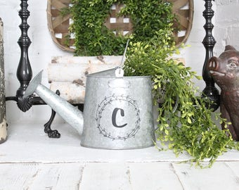Monogrammed Watering Can Planter