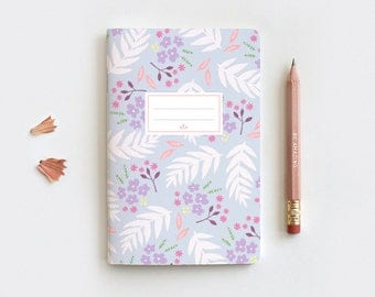 Spring Floral Journal & Pencil Set, Midori Insert, Hand Drawn Illustrated Leaves Purple Floral Notebook, Dot Grid, 3 Sizes
