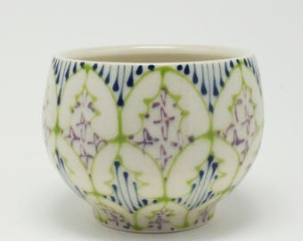 Ceramic Demitasse - Tea Cup, Saki Cup - Handmade with Kiwi, Navy and Purple Pattern