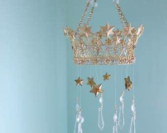 Star Crown Mobile Gold rhinestone Crystal Dangle Tiara sun catcher King Decor Boy Girl Nursery Crib Queen OOAK Royal Prince Princess diva