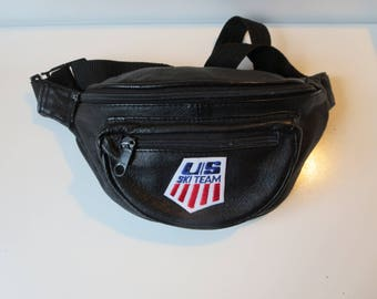 Ski Team Leather Fanny Pack - Black Leather Bum Bag