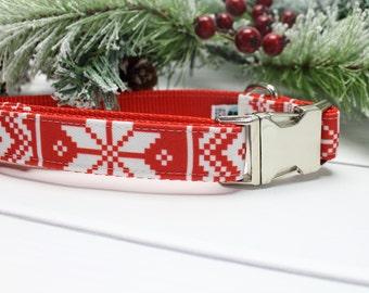 Nordic Stripe Canvas Dog Collar | Holiday Dog Collar | Girl Dog Collar | Boy Dog Collar | Strong Dog Collar | Winter Dog Collar