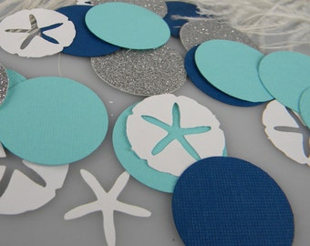 Anna's Custom Listing | Nautical Confetti |Turquoise Navy Silver and White | Nautical Wedding Ocean Theme Table Decoration