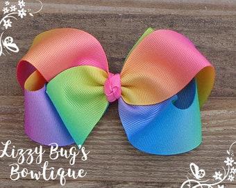 Boutique Hair Bow~Rainbow Hair Bow~Hair Bow For Girls~Rainbow Birthday Hair Bow~Ombre Rainbow Hairbow~Girl Hair Accessories~Girls Hairbows
