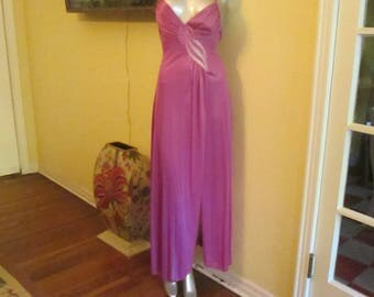 Vintage Purple Nightgown Small Petite High Slit Sexy Purple By Val Mode