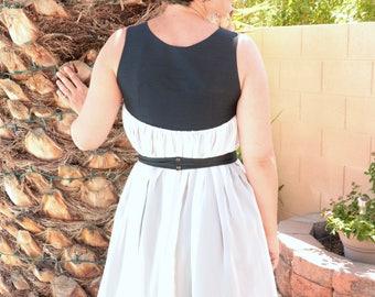 Black and White Dress - Chiffon - Black Dress - Reversible
