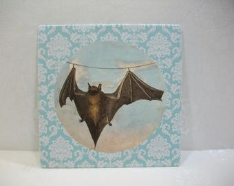 Rustic Wall Art / Bat Wall Art / Recycled Book Plate Wall Art Ready To Hang or Frame