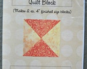 Easy Hourglass Quilt Block Pattern by Curlicue Creations, Patchwork Quilting Pattern