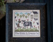 PLUM STREET SAMPLERS Milk & Cream Co. counted cross stitch patterns at cottageneedle.com Easter Spring cows 2018 Nashville Market
