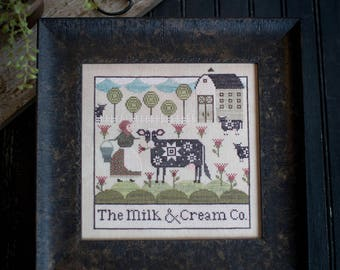 New! PLUM STREET SAMPLERS Milk & Cream Co. counted cross stitch patterns at cottageneedle.com Easter Spring cows 2018 Nashville Market