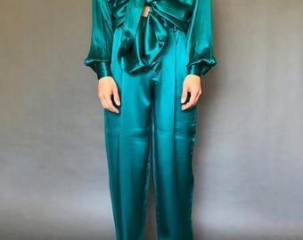 Jeweled Teal Satin Silk Set