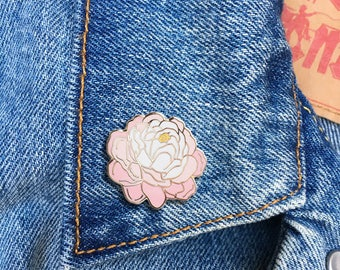 Peony Pin, Enamel Pin, Jewelry, Art, Flower, Gift (PIN86)