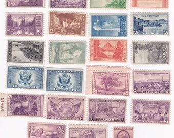 23 Mint 1934-1936 US Postage Stamps Including National Parks Issue