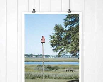 Red Birdhouse Photo, landscape Photography, Coastal Art Print, Landscape Picture, wall art, connecticut fine art, nature art print