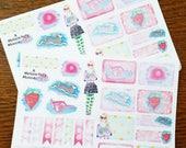 Luna mini kit~ Hand drawn planners stickers for Traveler's Notebooks, Bullet Journals, Erin Condren & Happy Planners