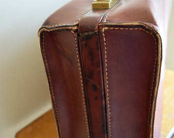 Vintage Brown Leather Suitcase w/Solid Brass Hardware & Original Keys - Urban, Industrial, Rustic, Photo Prop