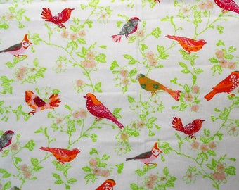 Pink and Orange Birds on Flowers Waverly Fabric