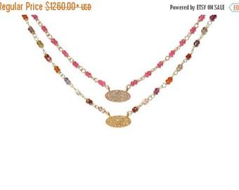 SALE 18K Pave Diamond Oval Rubellite & Multi-Color Sapphire Necklace