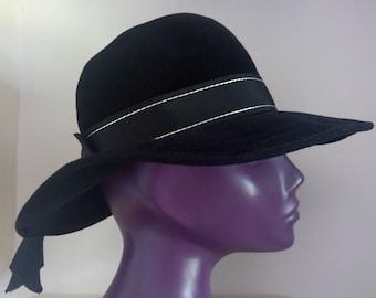 1960s vintage jet black wide-brim felt hat psychedelic mod dandy boho festival 1970s hippie fedora