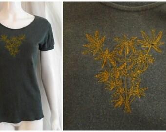 Vintage 1970s Tee Shirt Marijuana Leaf Design Embroidered Hippie Mans XS Woman's Medium