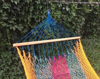 NEW! Single Hammock with Spreader Bars - Blue, Orange, Blue Green & Fuschia
