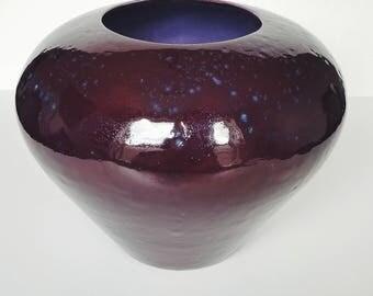 Signed Amethyst Ultraviolet Hand-thrown Ceramic Glazed Modern Purple Vase