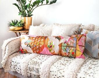 Pink Bolster Pillow, Long Lumbar Pillow, Unique Wedding Gift For Couple, Velvet Kimono Cushion, Vintage Silk Cushion, Gold Embroidery Cranes