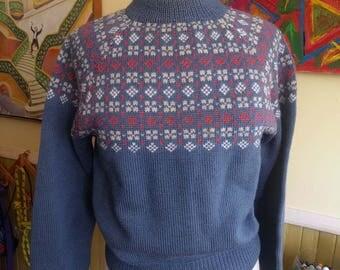 60s Nordic Wool Sweater • Paul Mage Denmark • Fair Isle Danish • Hand Knitted Handmade  • Ski Heavy Warm Winter