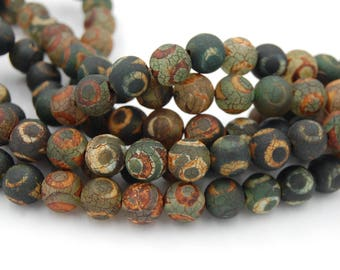 Tibetan dzi Agate Green/Brown Round 10mm -15 inch strand