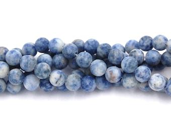 Matte Blue Spot Stone 6mm round beads -15 inch