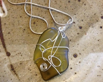 Silver wire wrap green sea glass pendant, one of a kind,