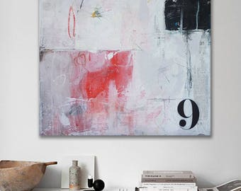 Modern white abstract painting, Contemporary, acrylic + mixed media 21 in x 17,5 in