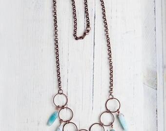 Aqua Bib Necklace, Aqua, Bib Necklace, Amazonite Necklace, Dream Catcher, Boho, Boho Style, Bohemian, Copper Bib Necklace, Aqua Copper