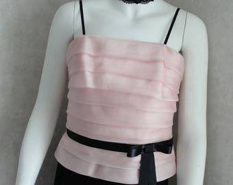 Vintage pink blouse, vintage clothing, vintage blouse, pink tops, pink blouse, pink camis, blouses, french chic clothing