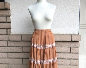 Vintage 50s Butterscotch Squaw Patio Skirt with Ric Rac Size Small