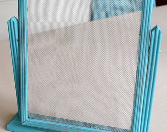 Aqua Vintage Tabletop Photo Frame Earring Organizer Holder
