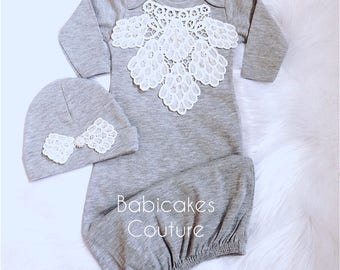 Newborn Girl Coming Home Outfit, Newborn Girl Gown, Ivory and Gray Coming Home Outfit, Baby Girl Take Home Outfit, Victorian Baby Layette