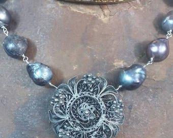BLACK BAROQUE PEARLS silver filigree  antique vintage assemblage necklace