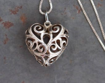 Filigree Heart Necklace - Sterling Silver Gothic Pendant on a Chain