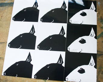 Silhouetted Bull Terrier Profile Sticker Decal x 6