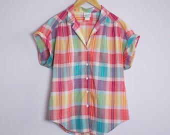 Vintage 1980's Pink + Yellow+ Aqua Plaid Camp Shirt L
