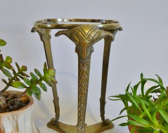 Art Deco Rams Head Brass Plant Stand, Candle or Dish Holder, Vintage Hollywood Regency