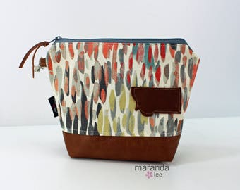 AVA Clutch Medium - Rain Nectar with Montana Patch and PU Leather READY to SHIp Cosmetic Wallet Makeup